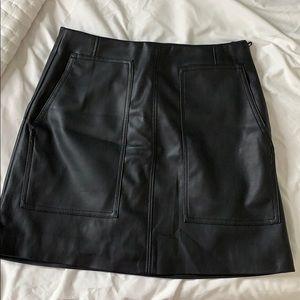 H&M Black Faux Leather Front Pocket Mini Skirt